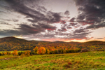 Sunset over Farmlands and Green Mountains in Fall, Cambridge, VT
