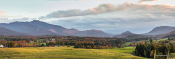 Late Evening Light over Mount Mansfield, Green Mountains, and Valley Farmlands, Cambridge, VT