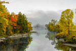 Early Morning Fog on Lamoille River in Autumn, Village of Jeffersonville, Cambridge, VT