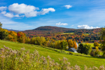 Rural Vermont Countryside and Green Mountains in Fall, Waterville, VT