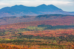 View of Bigelow Mountain Range and Forests in Fall from Quill Hill Scenic Drive Overlook, Rangeley Lakes Region, Dallas Plantation, ME