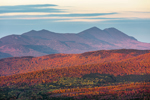 Late Evening Light over Bigelow Mountain Range and Forests in Fall from Quill Hill Scenic Drive Overlook, Rangeley Lakes Region, Dallas Plantation, ME