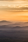 Sunset over Mountains and Valleys in Fall from Quill Hill Scenic Drive Overlook, Rangeley Lakes Region, Dallas Plantation, ME