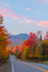Colorful Foliage along Country Road at Sunset with Mount Abraham in Distance, Salem Township, ME