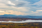 Rangeley Lake and Mountains with Valley Ground Fog in Fall from Quill Hill Scenic Drive, Rangeley Lakes Region, Dallas Plantation, ME