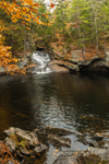 Pool at Bottom of Waterfalls on Black Brook Flowing through Devils Den Gorge in Fall, Andover, ME