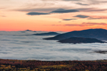 Mountain Peaks and Thick Valley Ground Fog at Sunrise from Quill Hill Scenic Drive Overlook, Rangeley Lakes Region, Dallas Plantation, ME
