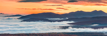 Bigelow Mountain Range and Ground Fog in Valleys at Predawn from Quill Hill Scenic Drive Overlook, Rangeley Lakes Region, Dallas Plantation, ME