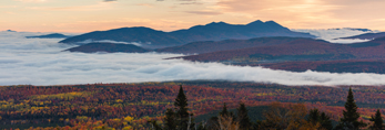 Bigelow Mountain Range and Ground Fog in Valleys at Sunrise from Quill Hill Scenic Drive Overlook, Rangeley Lakes Region, Dallas Plantation, ME