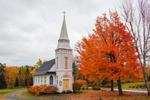 St. Matthews Episcopal Chapel in Fall, White Mountains Region, Sugar Hill, NH