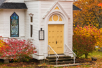 Close Up of Entrance to St. Matthews Episcopal Chapel in Fall, White Mountains Region, Sugar Hill, NH