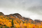 Cloudy Skies over Eagle Cliff on Mount Lafayette in Fall, Franconia Notch State Park, White Mountains Region, Franconia, NH