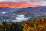 Early Morning Light Shines on White Mountains with Ground Fog in Fall, White Mountains Region, View from Jackson, NH