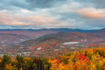 Early Morning Ground Fog in White Mountains in Fall, White Mountains Region, View from Jackson, NH