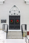 Close Up of Entrance to St. Mark's Roman Catholic Church in Winter, Conway, MA