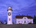 Chatham Light with Holiday Lights and Wreath