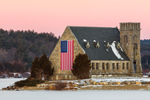 Old Stone Church Historic Site (Built 1891) at Wachusett Reservoir at Sunrise in Winter, West Boylston, MA
