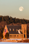 Old Stone Church Historic Site (Built 1891) at Wachusett Reservoir with Full Moon in Early Morning Light, West Boylston, MA