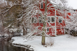 Red Barn along West Branch Tully River after Snowstorm, Tully Village, Orange, MA