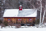 Natural Wood Barn and Stone Wall after Snowstorm, Fitzwilliam, NH