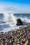 High Surf and Crashing Waves on Beach at Cedar Tree Neck, Martha's Vineyard, West Tisbury, MA