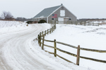 Cedar-shingled Barn with American Flag and Split-rail Fence in Winter, Martha's Vineyard, Edgartown, MA