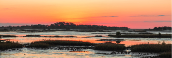 Sunrise over Islands of Cedar Keys at Low Tide, Gulf of Mexico, Cedar Key, FL