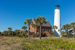 Cape St. George Lighthouse and Keeper's House with Wildflowers, Gulf Coast, Florida Panhandle, Franklin County, St. George Island, FL