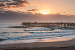 Sunrise over Atlantic Ocean, Surf, and Flagler Beach Pier, View from Ocean Walk Park, Flagler Beach, FL