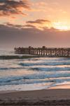 Sunrise over Atlantic Ocean, Surf, and Flagler Beach Pier, View from Ocean Walk Park, Flagler Beach, FL