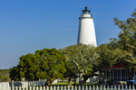 Morning Sun Shines on Ocracoke Island Light Station, Cape Hatteras National Seashore, Outer Banks, Ocracoke Island, NC