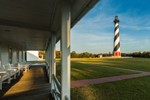 Early Evening Light on Cape Hatteras Lighthouse, View from 2nd Keepers Quarters Porch, Cape Hatteras National Seashore, Outer Banks, Hatteras Island, NC