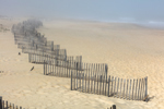 Beach and Fences in Fog at Jennette's Pier, Outer Banks, Nags Head, NC