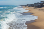 Surf along Atlantic Coast Shoreline, View from Kitty Hawk Pier, Outer Banks, Kitty Hawk, NC
