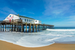 Kitty Hawk Pier and Surf on Atlantic Ocean Shoreline, Outer Banks, Kitty Hawk, NC