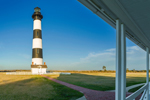 Early Evening Light Shines on Bodie Island Lighthouse, View from Keeper's Quarters Porch, Cape Hatteras National Seashore, Outer Banks, Bodie Island, NC
