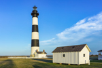 Early Evening Light Shines on Bodie Island Lighthouse, Cape Hatteras National Seashore, Outer Banks, Bodie Island, NC
