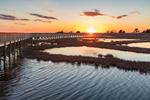 Boardwalk and Salt Marsh Pool at Sunset along Life in a Marsh Nature Trail, Assateague Island National Seashore, Assateague Island, MD