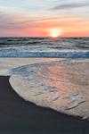 Sunrise over Surf and Sandy Beach along Atlantic Ocean at Assateague Island National Seashore, Assateague Island, MD