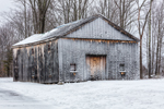Snow on Old Weathered Barn after Storm, Orange, MA