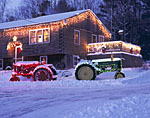 Farm Tractors with Holiday Lights
