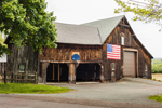 Natural Wood Barn with American Flag, Pioneer Valley, Deerfield, MA