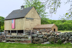 Wooden Barn with American Flag and Stone Wall, Stonington, CT