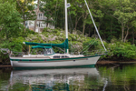 Sailing Sloop, Residence, and Mountain Laurel on Hamburg Cove, Eightmile River, Popular Boating Spot on Connecticut River, Lyme, CT
