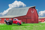Antique Ford Truck and Big Red Barn at Skyliine Farm, Columbia, CT