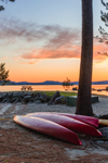 Canoes on Shore of Millinocket Lake at Sunrise, Penobscot County, T1R8 WELS, ME