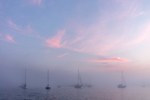 Sunrise over Boats in Fog in Pine Island Bay, Off Fishers Island Sound, Groton, CT