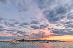 Sunset over Boats in Cuttyhunk Pond, Cuttyhunk Island, Elizabeth Islands, Town of Gosnold, MA