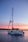 Sunrise over Sailboat in Cuttyhunk Pond, Cuttyhunk Island, Elizabeth Islands, Town of Gosnold, MA