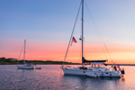Sunrise over Sailboats in Cuttyhunk Pond, Cuttyhunk Island, Elizabeth Islands, Town of Gosnold, MA